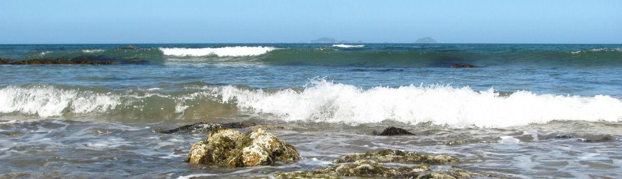 Waves on the rocky shore of the east Coromandel peninsula near Tairua